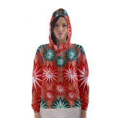 Stars Patterns Christmas Background Seamless Hooded Wind Breaker (Women)