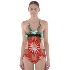 Stars Patterns Christmas Background Seamless Cut Out One Piece Swimsuit