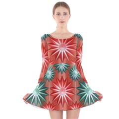 Stars Patterns Christmas Background Seamless Long Sleeve Velvet Skater Dress