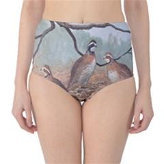 Bob White Quail High-Waist Bikini Bottoms