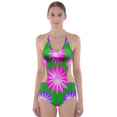 Stars Patterns Christmas Background Seamless Cut-Out One Piece Swimsuit