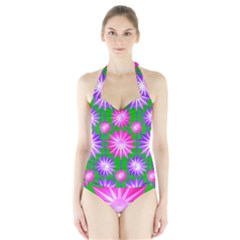 Stars Patterns Christmas Background Seamless Halter Swimsuit