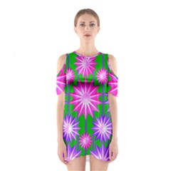 Stars Patterns Christmas Background Seamless Shoulder Cutout One Piece