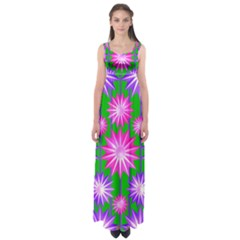 Stars Patterns Christmas Background Seamless Empire Waist Maxi Dress
