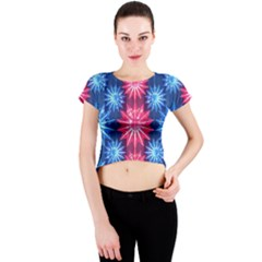 Stars Patterns Christmas Background Seamless Crew Neck Crop Top