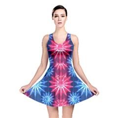 Stars Patterns Christmas Background Seamless Reversible Skater Dress