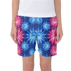 Stars Patterns Christmas Background Seamless Women s Basketball Shorts