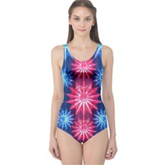 Stars Patterns Christmas Background Seamless One Piece Swimsuit