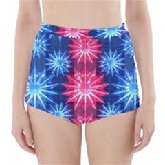 Stars Patterns Christmas Background Seamless High-Waisted Bikini Bottoms