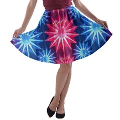 Stars Patterns Christmas Background Seamless A Line Skater Skirt