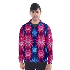 Stars Patterns Christmas Background Seamless Wind Breaker (Men)