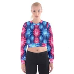 Stars Patterns Christmas Background Seamless Women s Cropped Sweatshirt