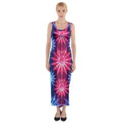 Stars Patterns Christmas Background Seamless Fitted Maxi Dress