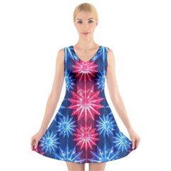 Stars Patterns Christmas Background Seamless V-Neck Sleeveless Skater Dress