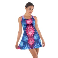 Stars Patterns Christmas Background Seamless Cotton Racerback Dress