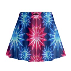 Stars Patterns Christmas Background Seamless Mini Flare Skirt