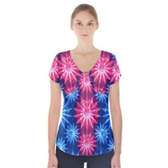 Stars Patterns Christmas Background Seamless Short Sleeve Front Detail Top