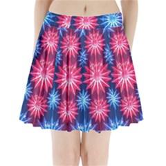 Stars Patterns Christmas Background Seamless Pleated Mini Skirt