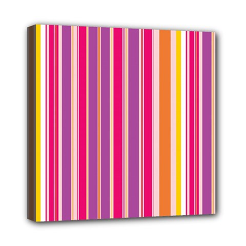 Stripes Colorful Background Pattern Mini Canvas 8  x 8
