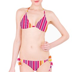 Stripes Colorful Background Pattern Bikini Set