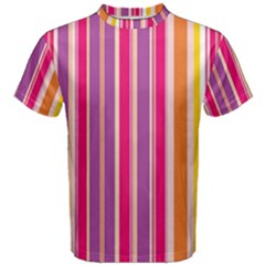 Stripes Colorful Background Pattern Men s Cotton Tee