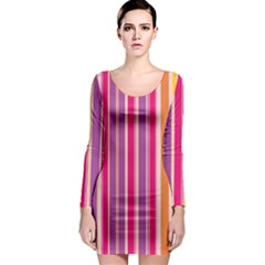 Stripes Colorful Background Pattern Long Sleeve Bodycon Dress