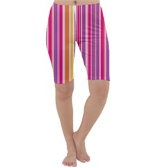 Stripes Colorful Background Pattern Cropped Leggings