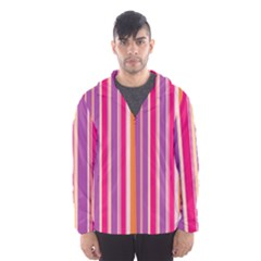 Stripes Colorful Background Pattern Hooded Wind Breaker (men)