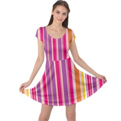 Stripes Colorful Background Pattern Cap Sleeve Dresses