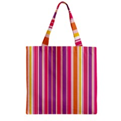 Stripes Colorful Background Pattern Zipper Grocery Tote Bag