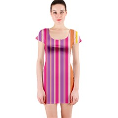 Stripes Colorful Background Pattern Short Sleeve Bodycon Dress