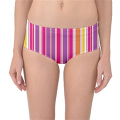 Stripes Colorful Background Pattern Mid-Waist Bikini Bottoms