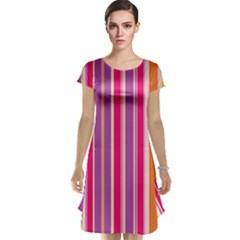 Stripes Colorful Background Pattern Cap Sleeve Nightdress