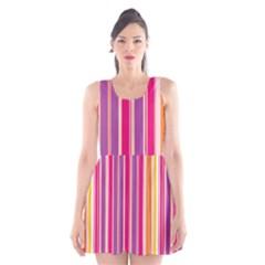 Stripes Colorful Background Pattern Scoop Neck Skater Dress