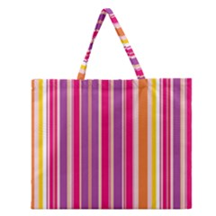 Stripes Colorful Background Pattern Zipper Large Tote Bag