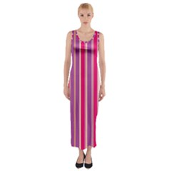 Stripes Colorful Background Pattern Fitted Maxi Dress