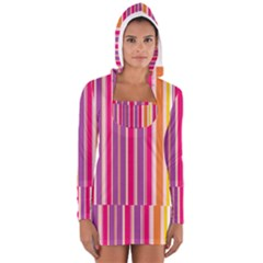 Stripes Colorful Background Pattern Women s Long Sleeve Hooded T-shirt