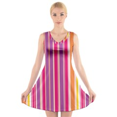 Stripes Colorful Background Pattern V-Neck Sleeveless Skater Dress