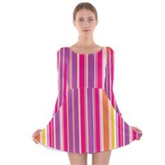 Stripes Colorful Background Pattern Long Sleeve Velvet Skater Dress