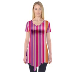Stripes Colorful Background Pattern Short Sleeve Tunic