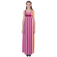 Stripes Colorful Background Pattern Empire Waist Maxi Dress