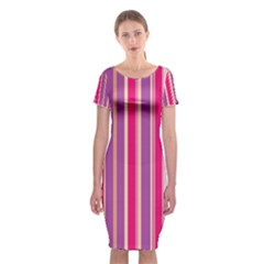 Stripes Colorful Background Pattern Classic Short Sleeve Midi Dress