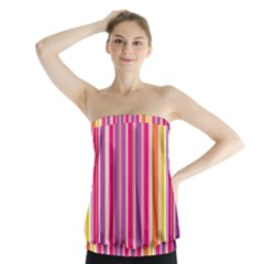 Stripes Colorful Background Pattern Strapless Top