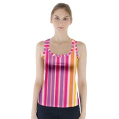 Stripes Colorful Background Pattern Racer Back Sports Top
