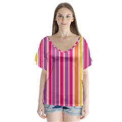 Stripes Colorful Background Pattern Flutter Sleeve Top