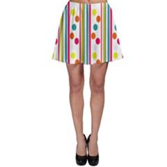 Stripes Polka Dots Pattern Skater Skirt