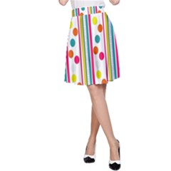 Stripes Polka Dots Pattern A-Line Skirt