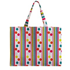 Stripes Polka Dots Pattern Zipper Mini Tote Bag