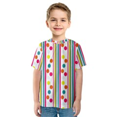 Stripes Polka Dots Pattern Kids  Sport Mesh Tee