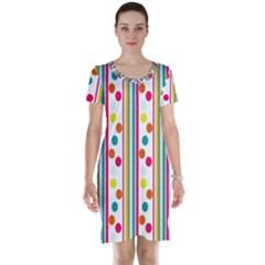 Stripes Polka Dots Pattern Short Sleeve Nightdress